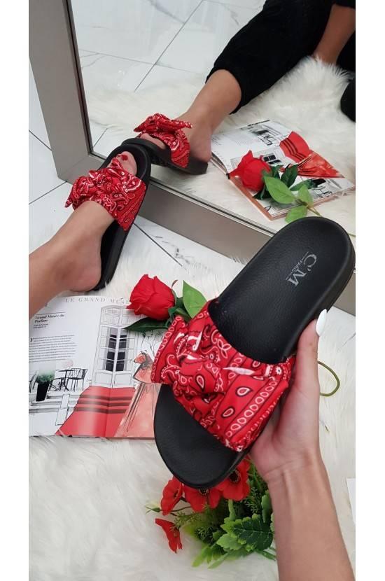 Sandales noeud imprimées rouge Marwa