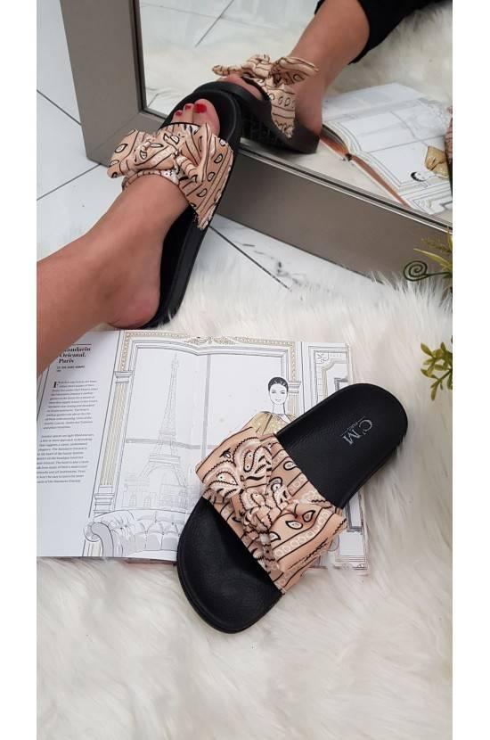 Sandales noeud imprimées beige Marwa