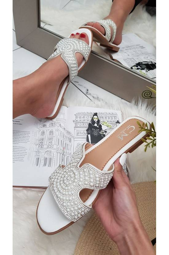 Sandales perles BLANCHES Emy