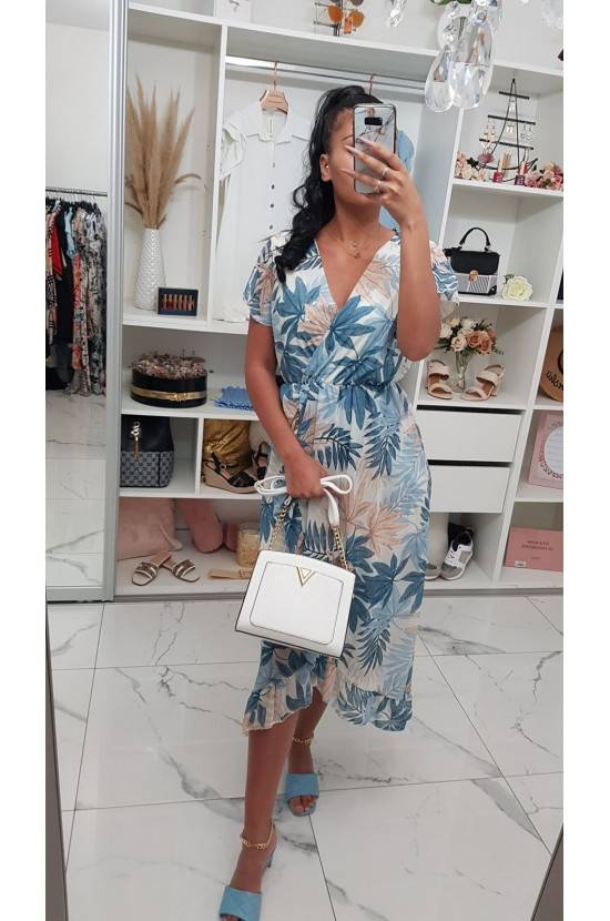 Robe longue feuilles Mady