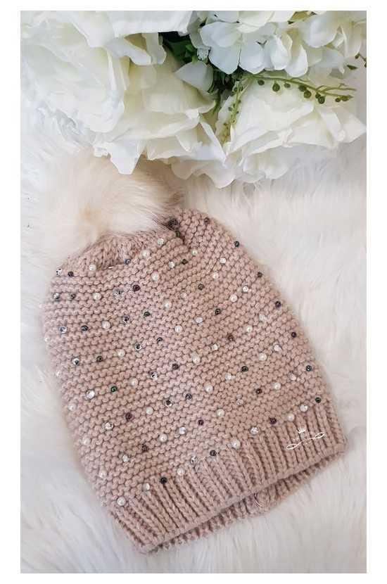 Bonnet pompon & perles