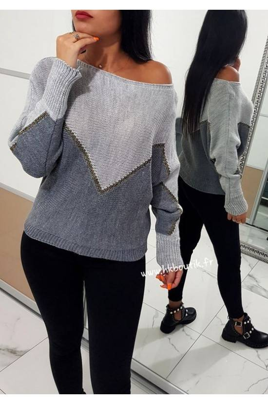 Pull en maille bicolore 1642