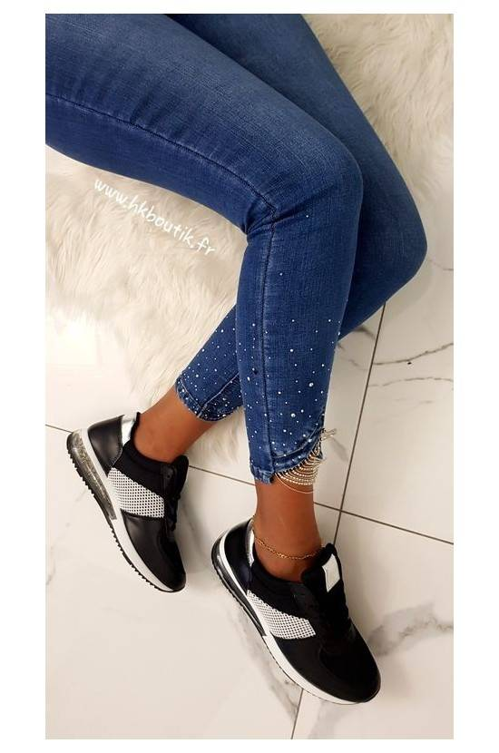 JEANS CHEVILLES STRASS...
