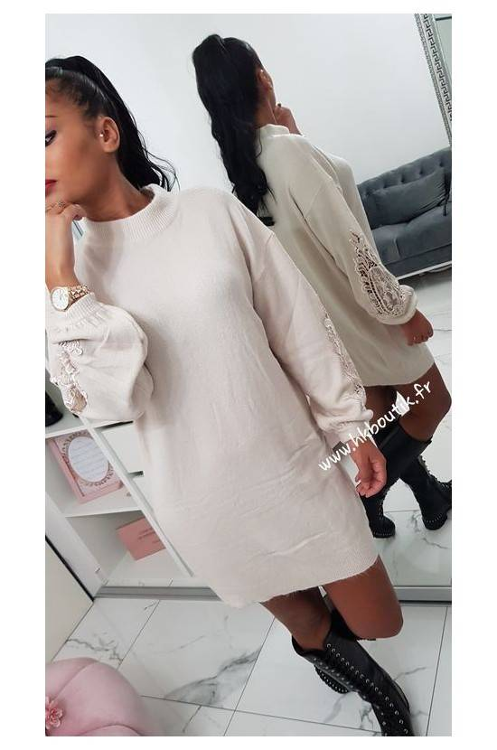 Robe manches brodées MO-9239L
