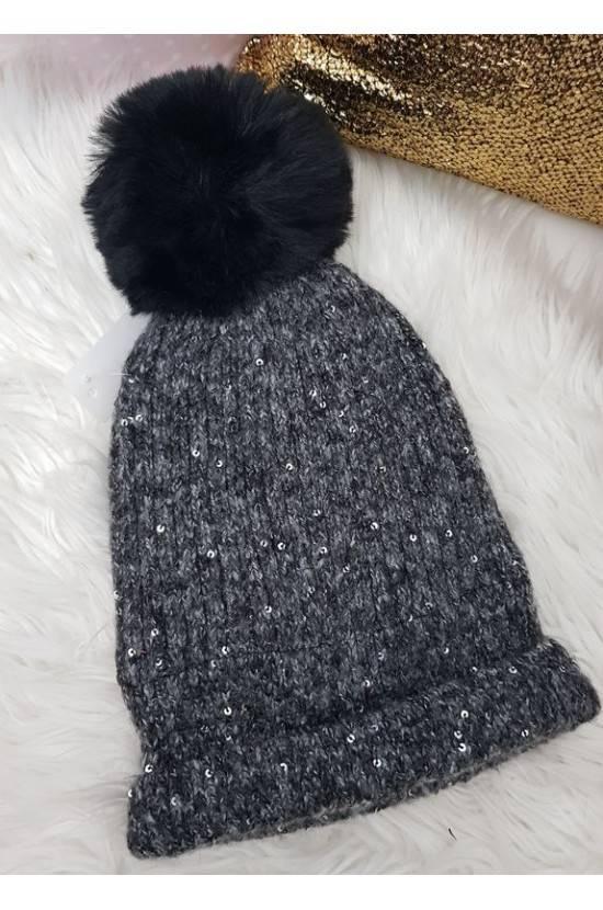 Bonnet pompon séquins 1306